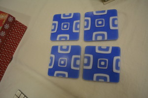 Blue Square Pile Coasters